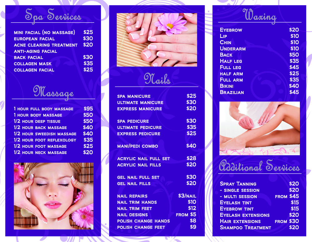 NailHair Salon Marketing Materials Lauranagel - Hair salon brochure templates