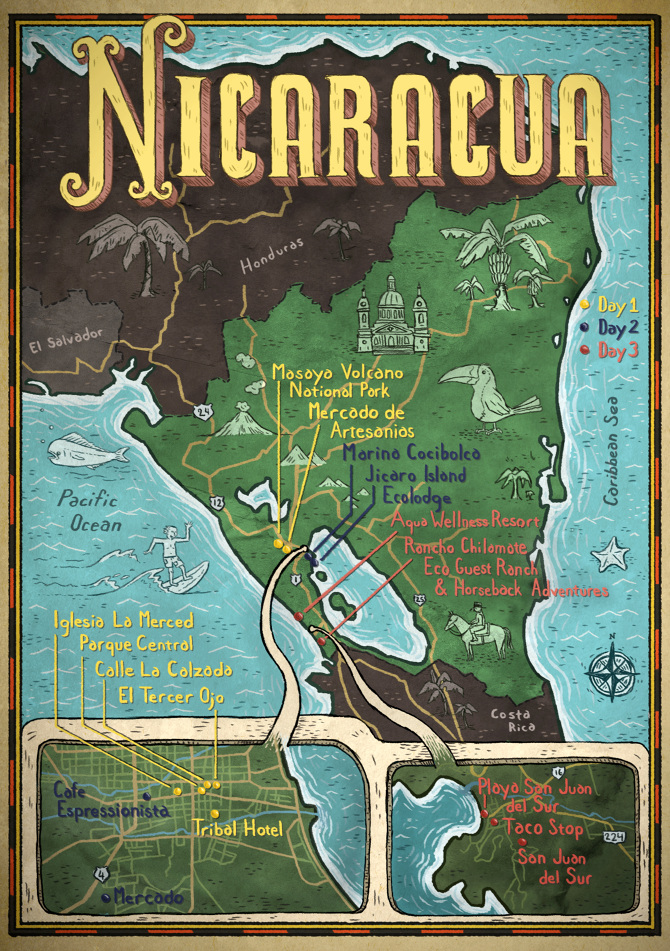 Three Perfect Days Nicaragua Barry Bruner Illustration – Nicaragua Travel Map